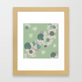 Floral Seamless Pattern on Green Framed Art Print