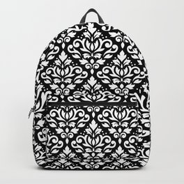 Scroll Damask Big Pattern White on Black Backpack