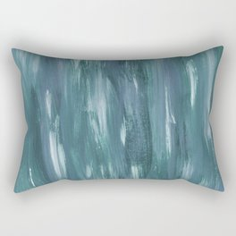 Touching Teal Blue White Watercolor Abstract #1 #painting #decor #art #society6 Rectangular Pillow