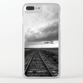 A Dreamer's Journey - Railroad Tracks and Storm in Black and White Clear iPhone Case