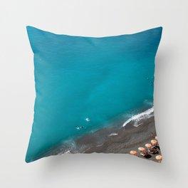 Positano Beach Umbrellas Throw Pillow