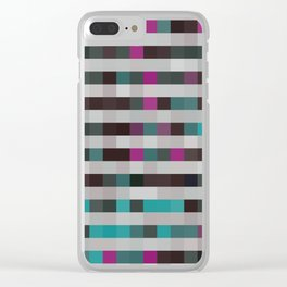 pixels pattern with colorful squares and stripes Clear iPhone Case