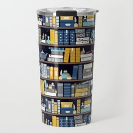 Book Case Pattern - Blue Yellow Travel Mug