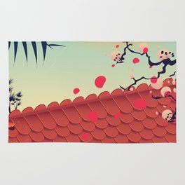 Japan Roof travel poster Rug