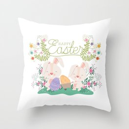 Happy Easter Baby Bunnies, Eggs and Pastel Flowers 2 Throw Pillow