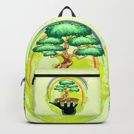 Bonsai Tree and Rainbow on Green Hand - Protecting Nature Backpack