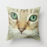 alisa burke Throw Pillows featuring FELINE BEAUTY by Catspaws