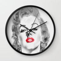 marylin monroe Wall Clocks featuring Marylin by Ticopage designs