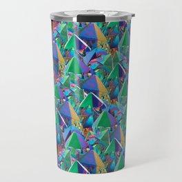 Crystal Shards in Oil Slick Rainbow Aura Travel Mug
