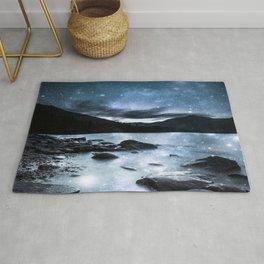 Magical Mountain Lake Steel Blue Gray Rug