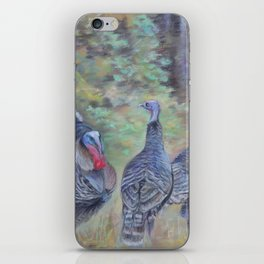 Wilde turkeys in the forest landscape Wildlife Birds pastel painting Colorful drawing iPhone Skin