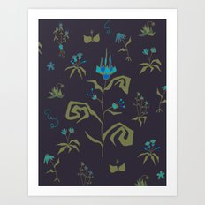 Gothic Botanical Pattern I Art Print