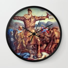 Classical Abolitionist Masterpiece by John Steuart Curry - Tragic Prelude  - John Brown. Wall Clock