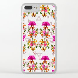 Watercolor Floral & Triangle Pattern Home Goods Design Clear iPhone Case