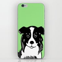 border collie iPhone & iPod Skins featuring Border Collie Printmaking Art by Artist Abigail