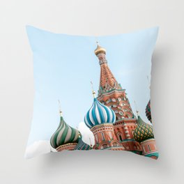 Saint Basil's Cathedral on the Red Square in Moscow, Russia | Travel photography art print photo Throw Pillow