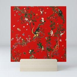 Monkey World Red Mini Art Print