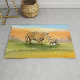 Colorful Mom and Baby Rhino Rug
