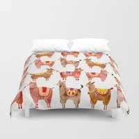 chile Duvet Covers featuring Alpacas by Cat Coquillette