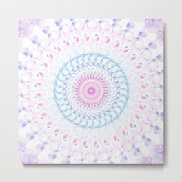 Pastel Wave Mandala in Pale Pink, White, and Lilac Metal Print