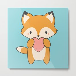 Kawaii Cute Fox With Hearts Metal Print