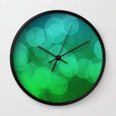 Blue Green Ombre Bokeh Wall Clock