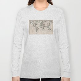 Vintage Map of The Worlds Magnetic Fields (1852) Long Sleeve T-shirt