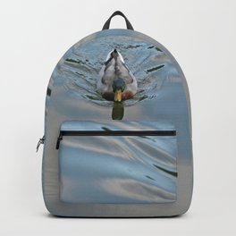 Mallard duck swimming in a turquoise lake 2 Backpack