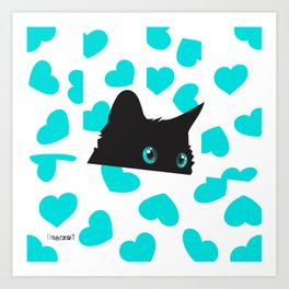 Cat on Blanket with Hearts Art Print