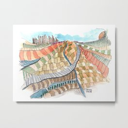 Meandering Landscapes: Curved Trajectory Metal Print