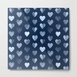 Denim Patch Boro Embroidery Hearts Metal Print