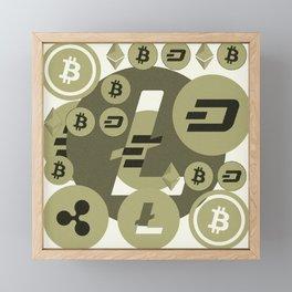 Ethereum, Bitcoin, Dash, Ripple, Litcoin pattern Framed Mini Art Print