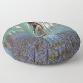 Girl in forest 2 Floor Pillow