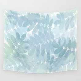 Vintage Blue Leaf Abstract Wall Tapestry