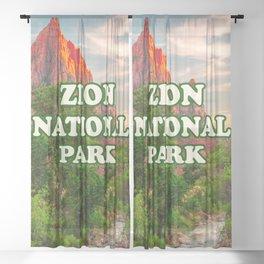 Zion National Park Utah Desert Sunset Retro Travel Souvenir Print Sheer Curtain
