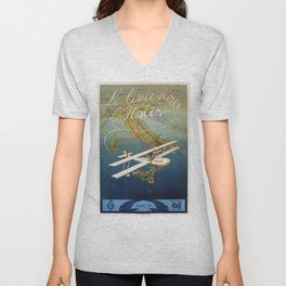 Vintage 1920s Island plane shuttle Italian travel Unisex V-Neck
