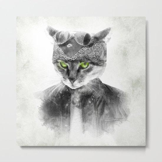 Biker Cat Metal Print