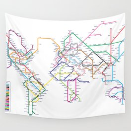 World Metro Subway Map Wall Tapestry