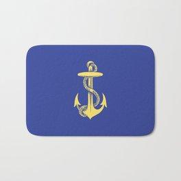 Modern royal blue sunshine yellow nautical anchor Bath Mat