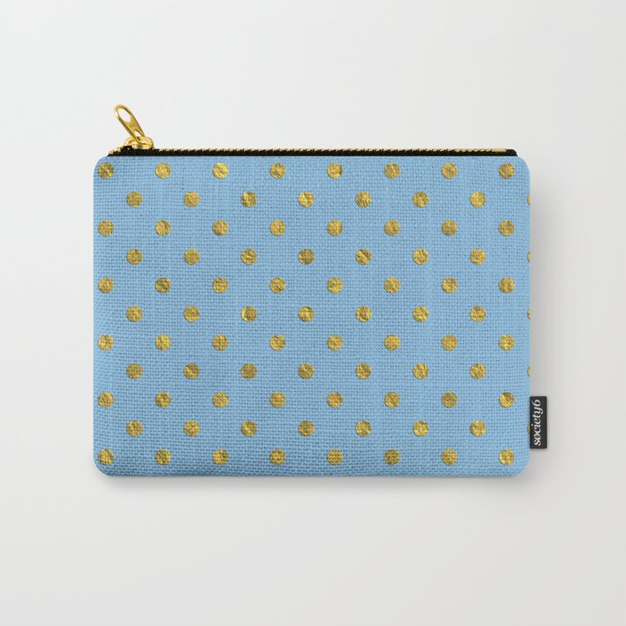 Gold polkadots on sky blue background Carry-All Pouch