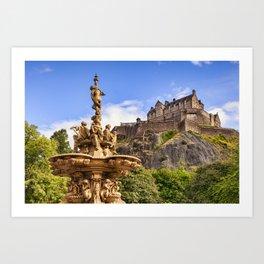 Ross Fountain and Edinburgh Castle Art Print