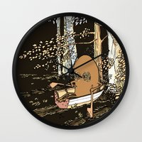 rowing Wall Clocks featuring Forest Rowing by Emily Joan Campbell