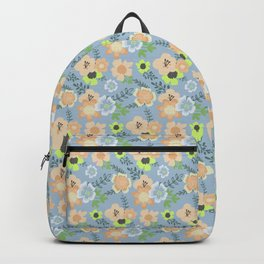 Modern coral pastel blue lime green floral illustration Backpack