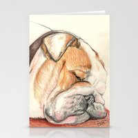 english bulldog Stationery Cards featuring English bulldog Alfie by Pendientera