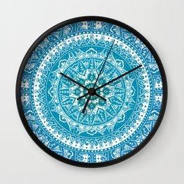 Aquamarine Mandala Pattern Wall Clock