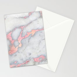 Rosegold Pink on Gray Marble Metallic Foil Style Stationery Cards