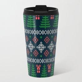 Christmas Tree Sweater Pattern - Dark Blue Travel Mug
