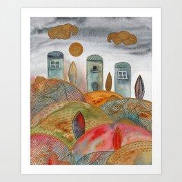 Watercolor landscape & line art II Art Print