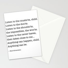 Listen to the MUSTN'TS, child, listen to the DON'TS. Stationery Cards