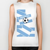 argentina Biker Tanks featuring Argentina Football by mailboxdisco